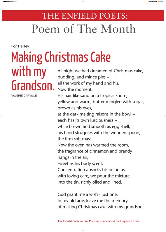 poem of the month christmas cake - valerie darville december 2013